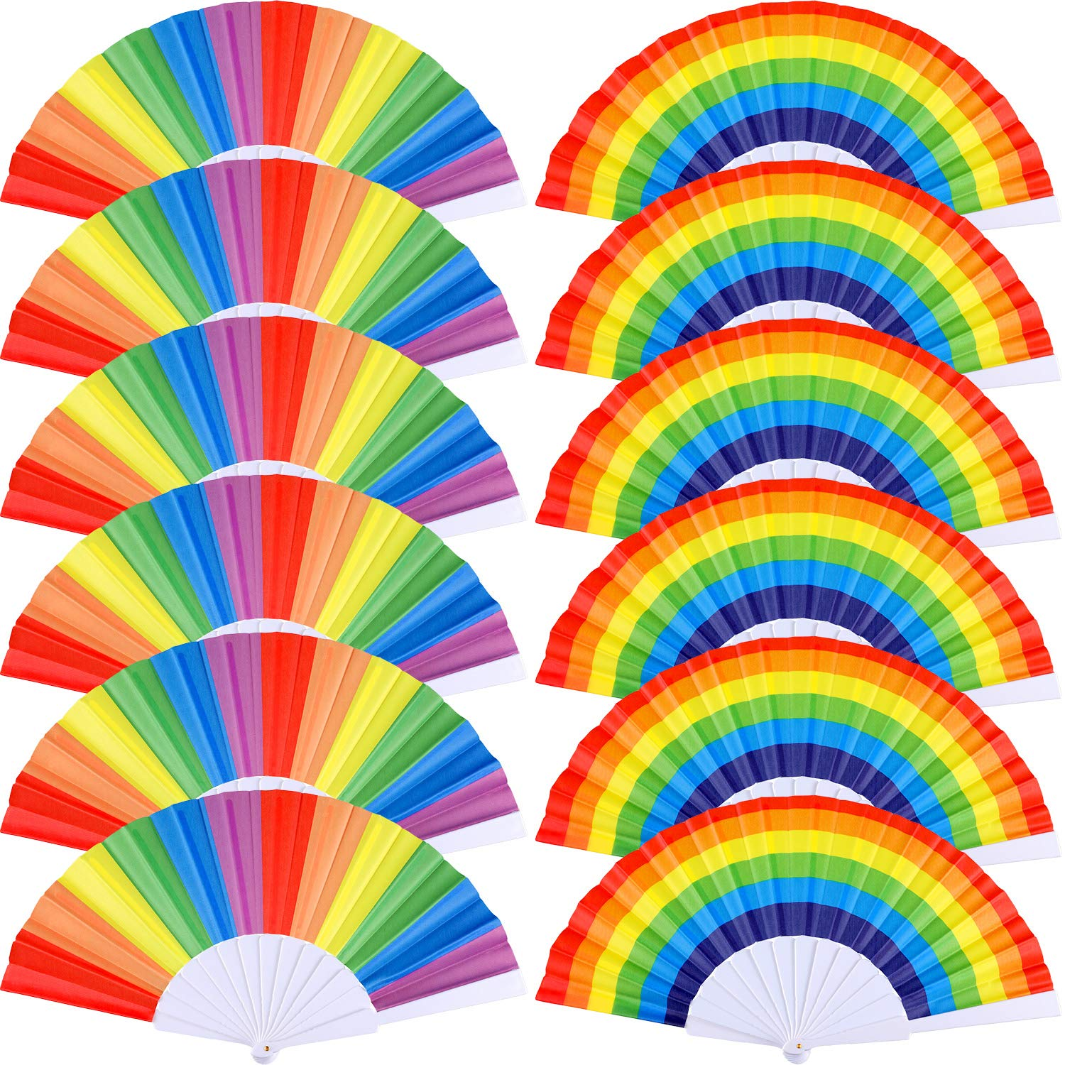 Yaomiao 12 Pieces Rainbow Fans Rainbow Folding Fans Colorful Hand Held Fan Summer Accessory for Rainbow Party Decoration (Horizontal and Vertical Stripes)