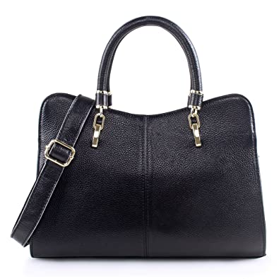Yafeige Women Ladies Genuine Leather Tote Bag Handbag Shoulder Bag Top-handle  Purse (Black 217e8a278c