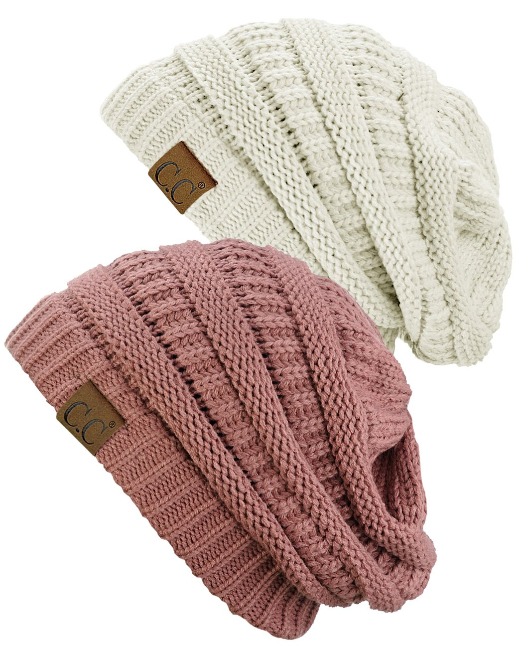 C.C Trendy Warm Chunky Soft Stretch Cable Knit Beanie Skully, 2 Pack Ivory/Mauve by C.C