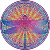 Bgraamiens Puzzle-Zentangle Dragonfly-1000 Pieces Vivid Dragonfly Round Mandala Puzzle Color Challenge Jigsaw Puzzles
