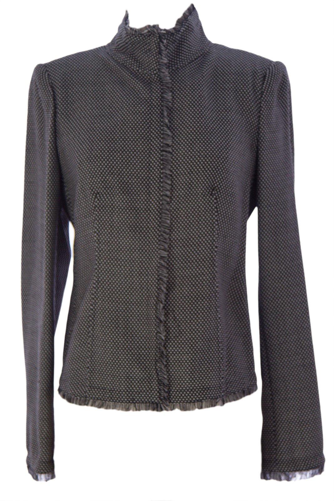 Armani Collezioni Women's Frayed Knit Blazer 10 Black & White