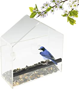 CLEVER GARDEN Clear Acrylic Bird Feeder with Strong Window Suction Cups and Seed Tray | House | Outdoor Birdfeeder for Wild Birds, Finch, Cardinal and Bluebird