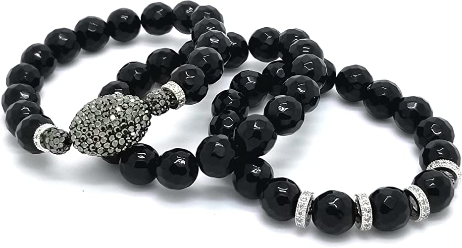 """Faceted Onyx 8mm Beaded Stretch Bracelet 7/"""""""