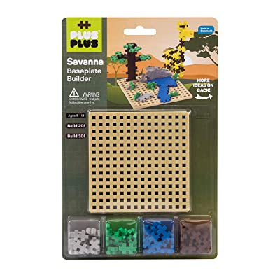 PLUS PLUS – Savanna Baseplate Builder – 64 Pieces and Base Accessory for Building and displaying, 4.5 X 4.5 inches - Construction Building STEM | STEAM Toy, Interlocking Mini Puzzle Blocks for Kids: Toys & Games