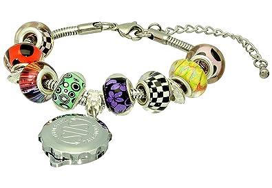 SOS Talisman Pandora Style Bracelet (Oakley) with Chrome Plated Capsule - Sparkle Red 7Egd1