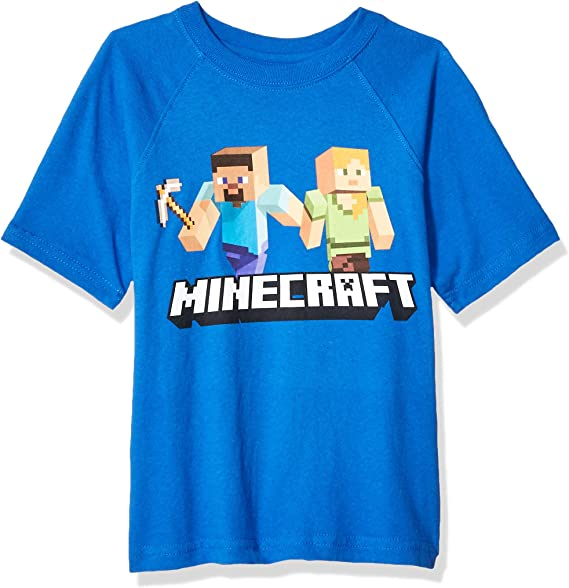 Minecraft Steve and Friends Childrens Black T Shirt