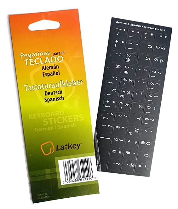 Amazon.com: Spanish/German Keyboard Stickers for Laptop, MacBook Air/Pro, Desktop PC Computer, Mac (Keyboard Decals: red Letters on Transparent Background, ...