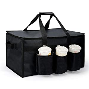 Insulated Food Delivery Bag with Cup Holders for Uber Eats, Black Grocery Bag for Hot Item