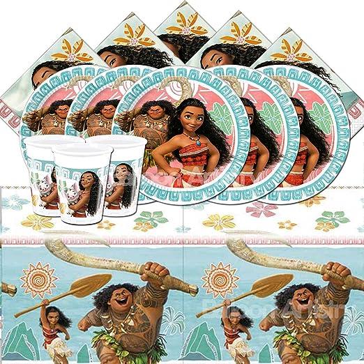 Disney bpwfa-315 Moana Juego Incluye 16 vasos, 16 platos de papel/16 servilletas/1 funda para mesa
