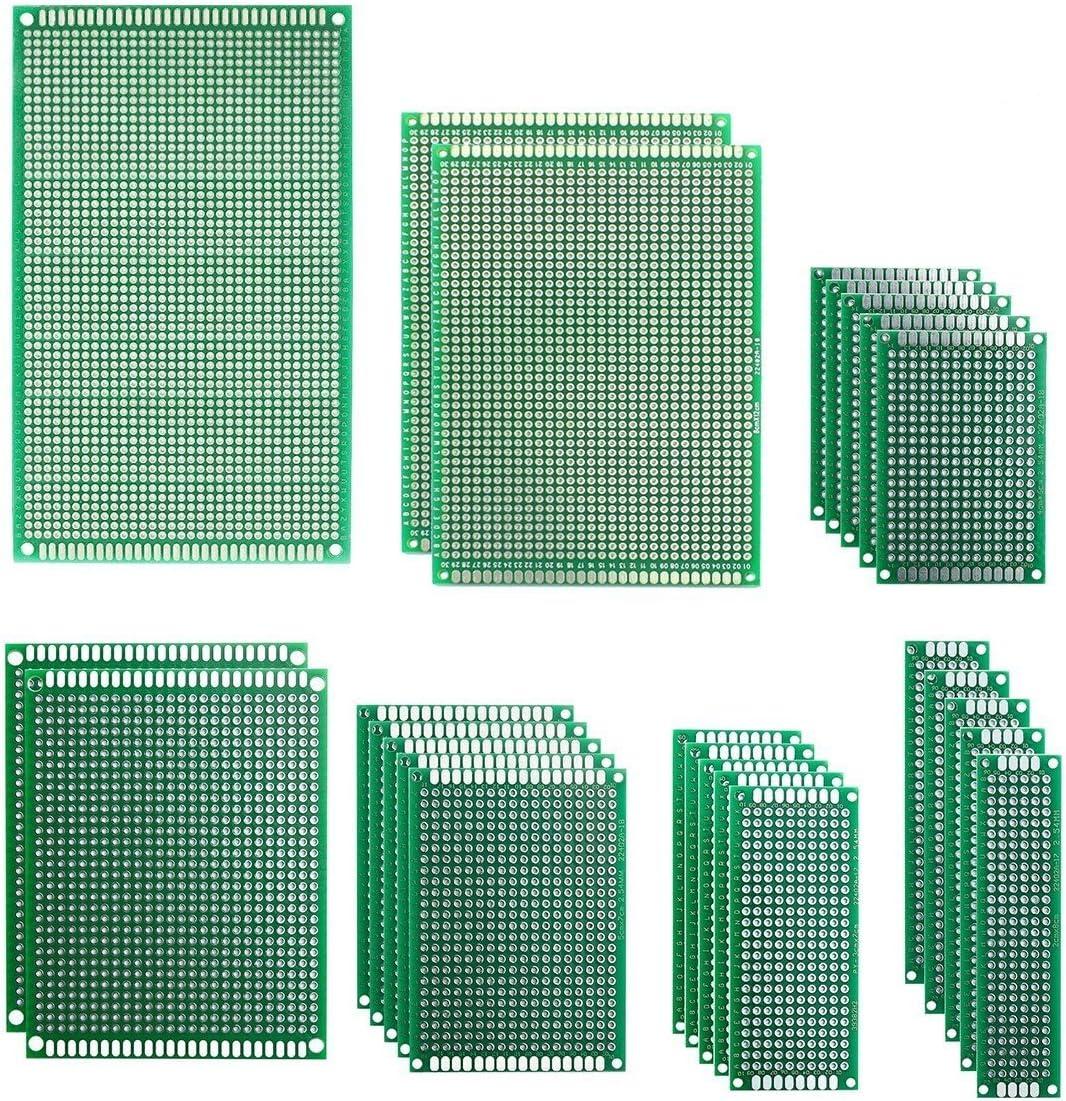 IZOKEE 25 Piezas 7 Tamaños 2x8 3x7 4x6 5x7 7x9 8x12 9x15cm PCB Prototipo Placa Soldar Circuitos Doble Cara Kit para Bricolaje Soldadura, Compatible con Kits Arduino