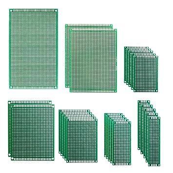 IZOKEE 25 Piezas 7 Tamaños 2x8 3x7 4x6 5x7 7x9 8x12 9x15cm PCB Prototipo Placa Soldar Circuitos Doble Cara Kit para Bricolaje Soldadura, Compatible con Kits ...