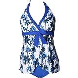 Honeystore Women's Floral Tummy Control Two Piece Bathing Suist Tankini Swimwear