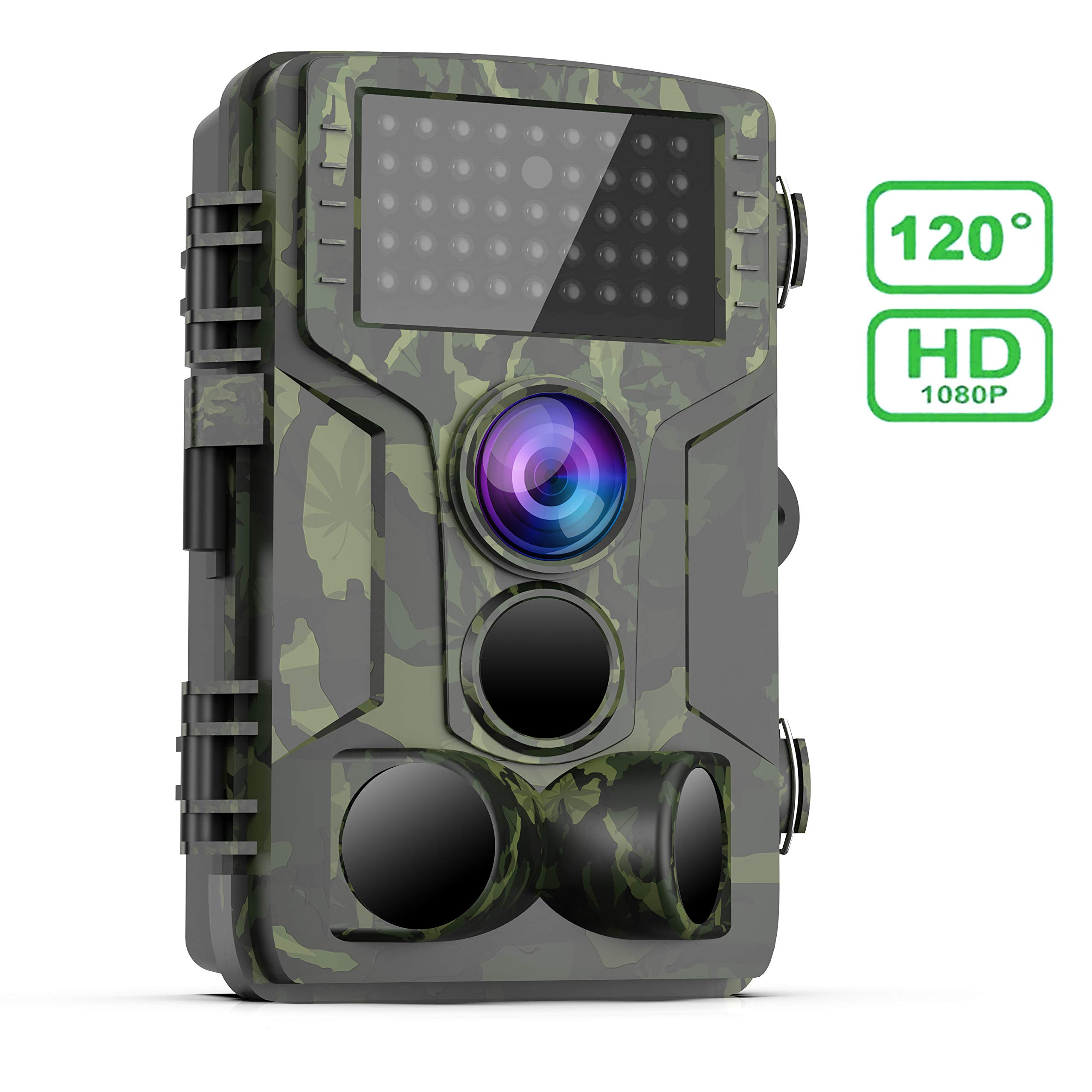 FHDCAM Trail Game Camera 1080P HD Waterproof Scouting Camera, 120°Wide Angle PIR Sensor Motion Activated Night Vision Hunting Camera for Wildlife & Home - New Version by FHDCAM
