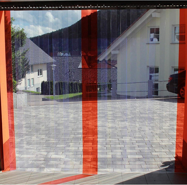 H/öhe 1,50 m als optimaler Wind und Wetterschutz komplett vormontiert PVC Streifenvorhang Lamellenvorhang 300x3mm 4,00 m breit transparent