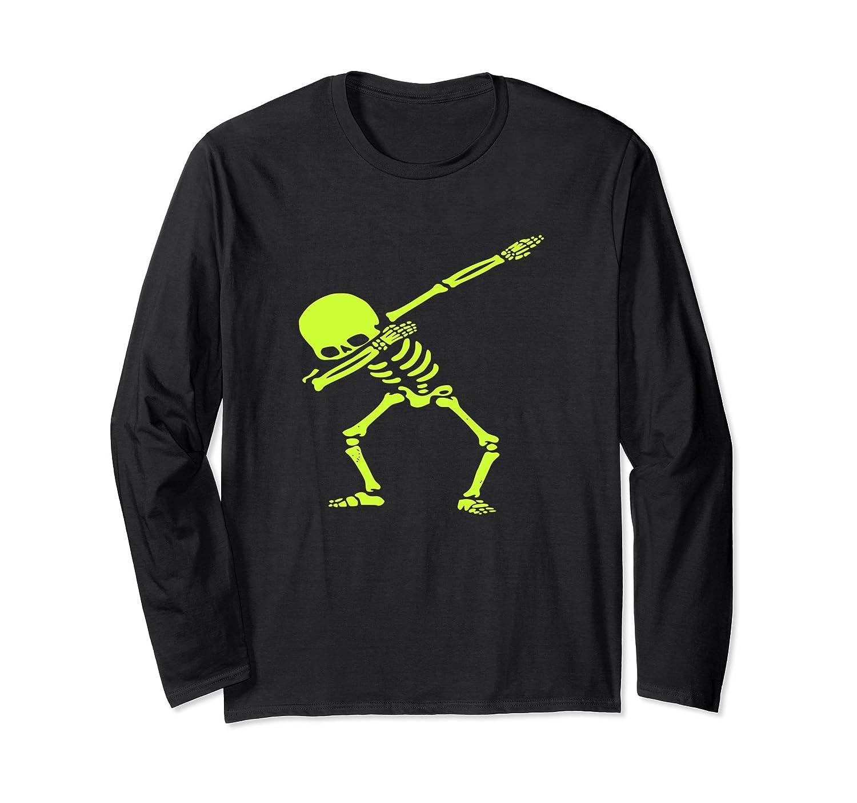 Dabbing Green Skeleton Dab Pose Halloween Long Sleeve-Rose