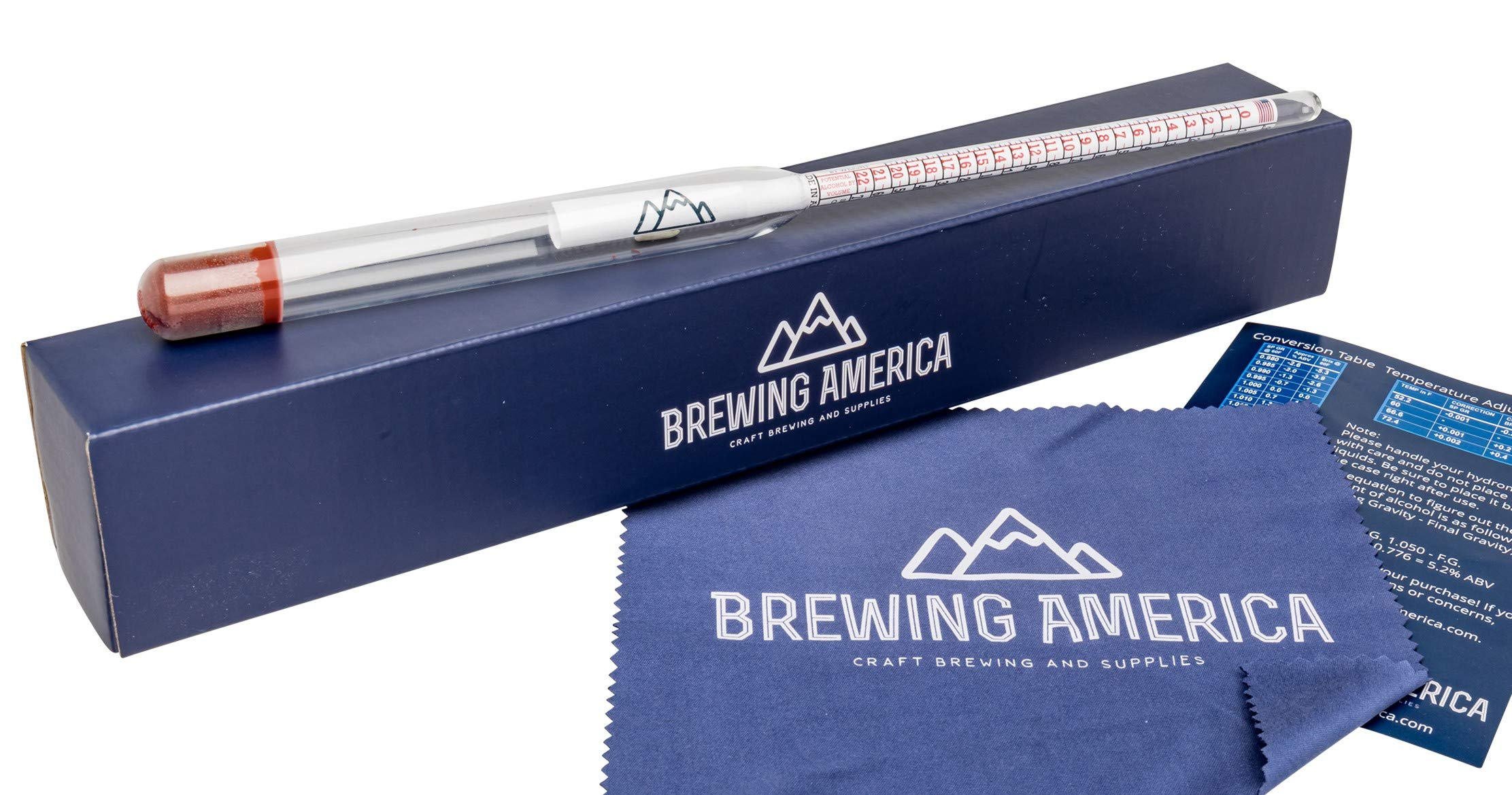 Specific Gravity Hydrometer Alcohol Tester - Pro Series American-Made Brewing ABV Testing: Beer, Wine, Cider, Mead Homebrew Fermented Beverages - Triple Scale Hydrometer by Brewing America