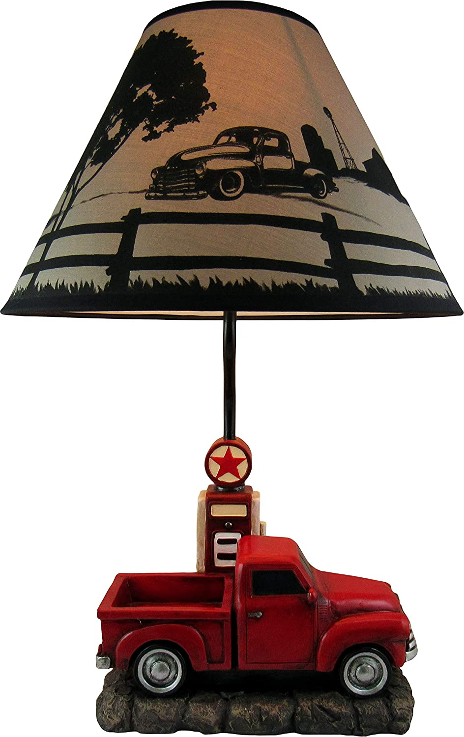 DWK - Big Red - Classic Vintage Pickup Truck with Gas Pump Table Lamp with Decorative Country Scene Shade Mechanic Garage Man Cave Den Bar Home Décor Accent Light, 20-inch