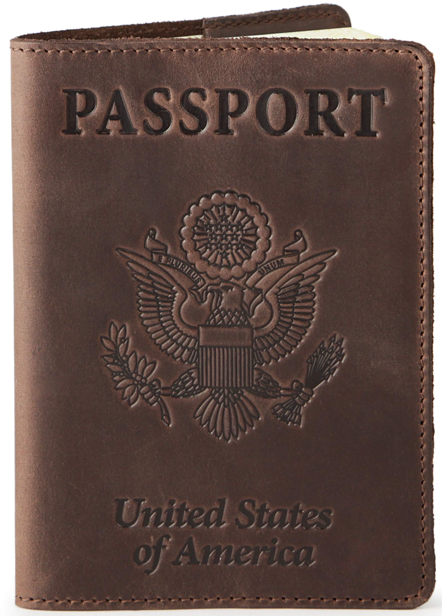 Shvigel Leather Passport Cover - Holder - for Men & Women - Passport Case (Brown Vintage) by Shvigel