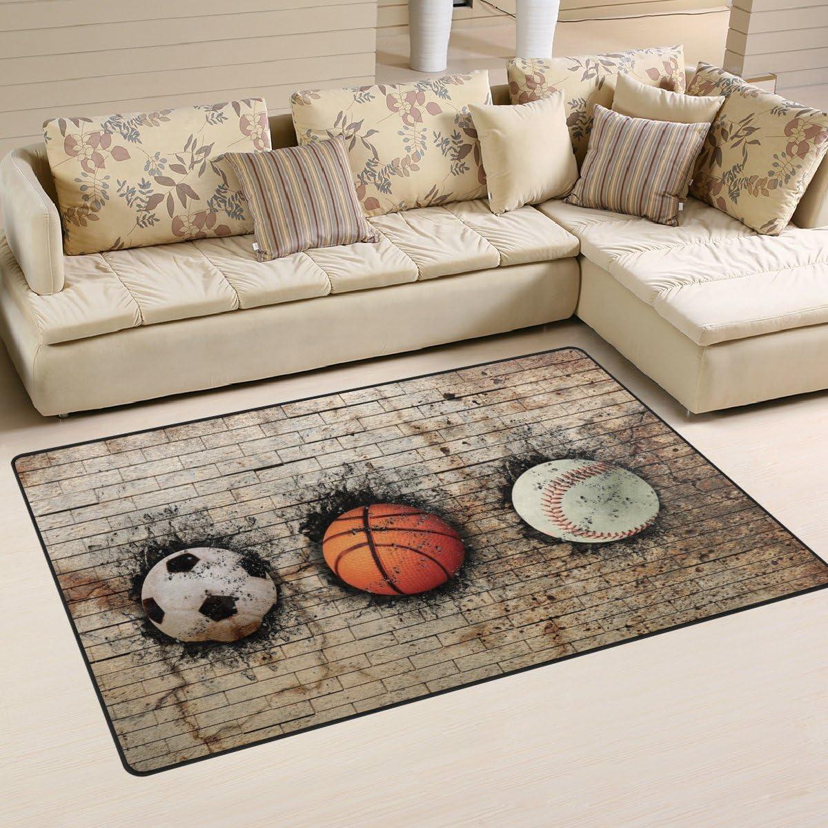 WOZO Vintage 3D Basketball Baseball Soccer Area Rug Rugs Non-Slip Floor Mat Doormat