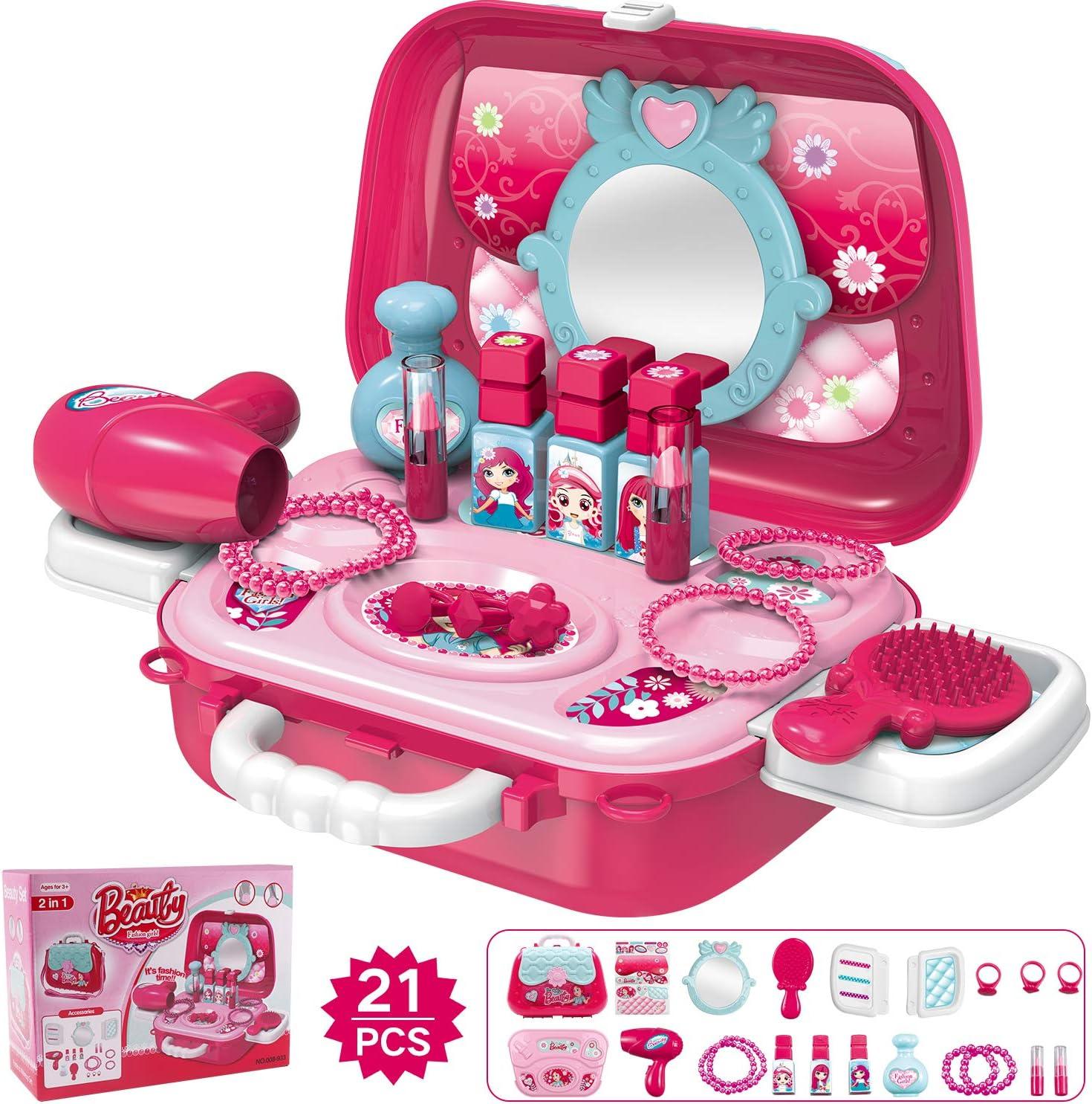 Hiveseen Maletin De Belleza y peluqueria Juguete de joyería Set con Accesorios para niñas 3 años