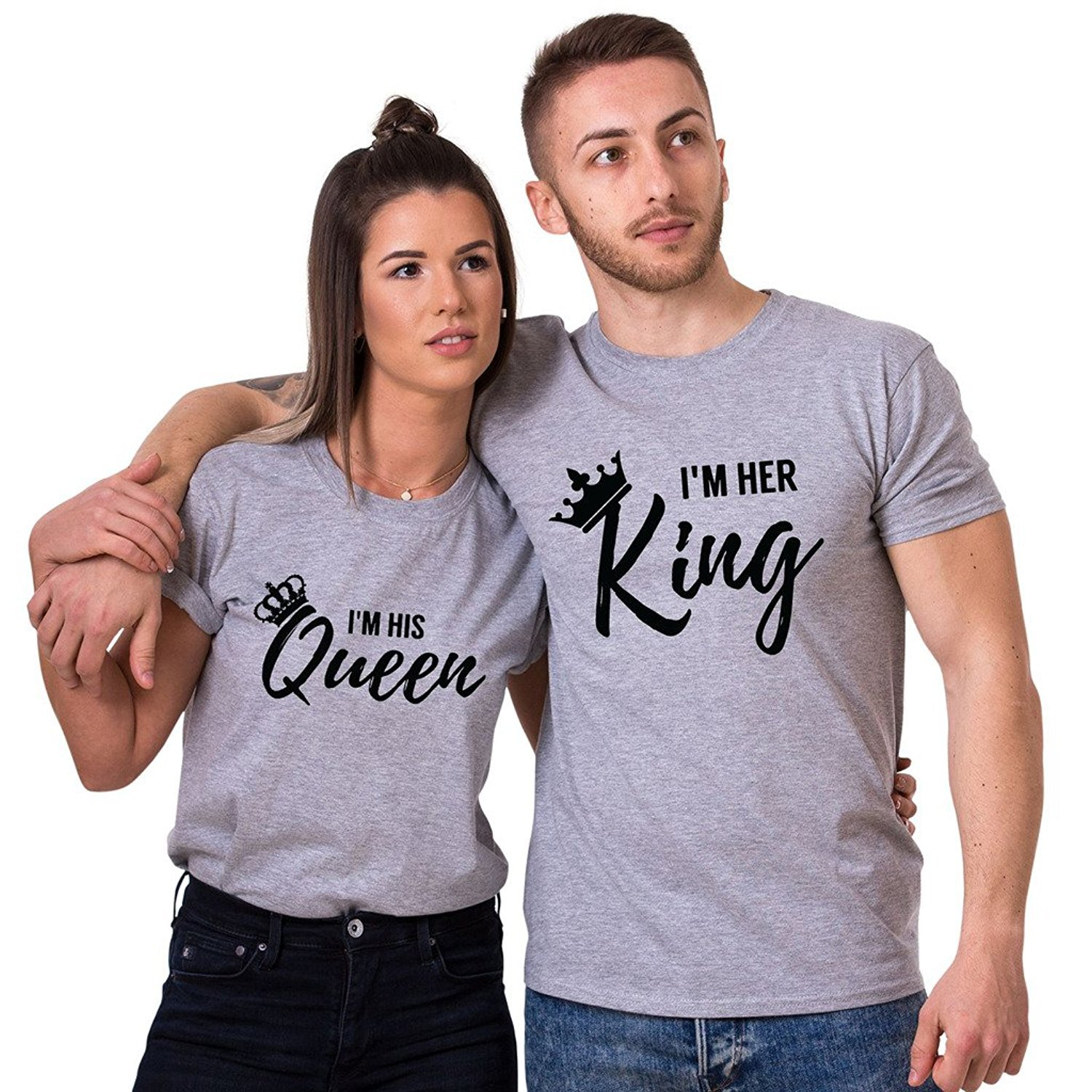 ec61e128d I'm Her King I'm His Queen Couples Matching T-Shirts | Amazon.com