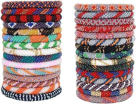 Pink Black Roll Glass Beaded Bracelet Nepal Bead 100/% Handmade Bangle Gift