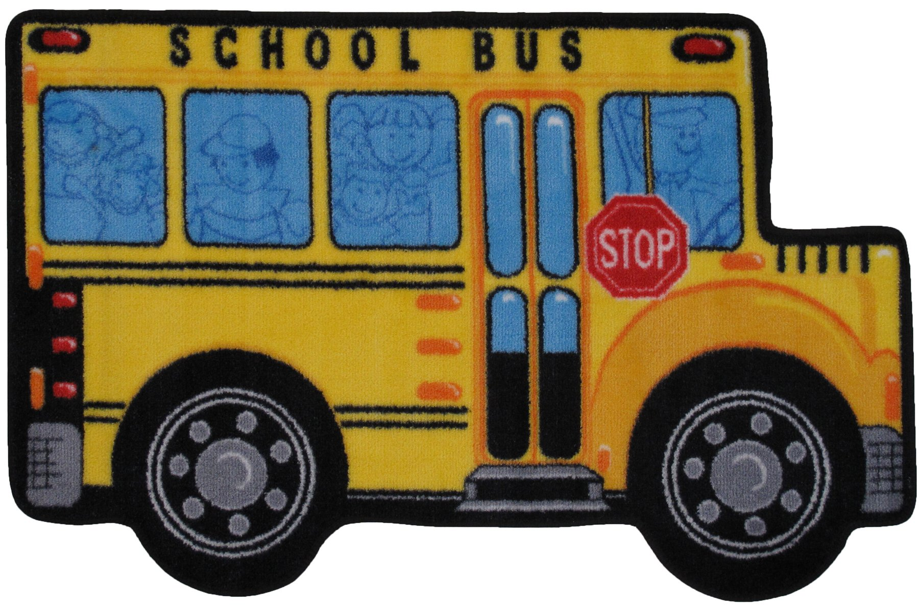 Fun Shape High Pile School Bus Kids Rug Rug Size: 2'7'' x 3'11''