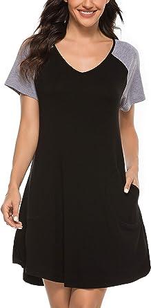 Vlazom Camisón Mujer Verano Ropa de Dormir Corta Camisones de Algodon Pijamas: Amazon.es: Ropa y accesorios