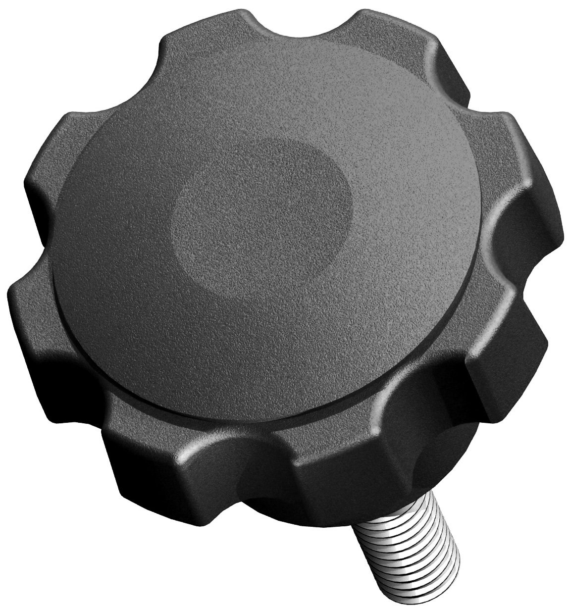 Innovative Components AN5C1750F7S21 2.48'' Fluted knob thru hole 5/16 - 18 x 1.75'' steel zinc stud soft touch (Pack of 10)