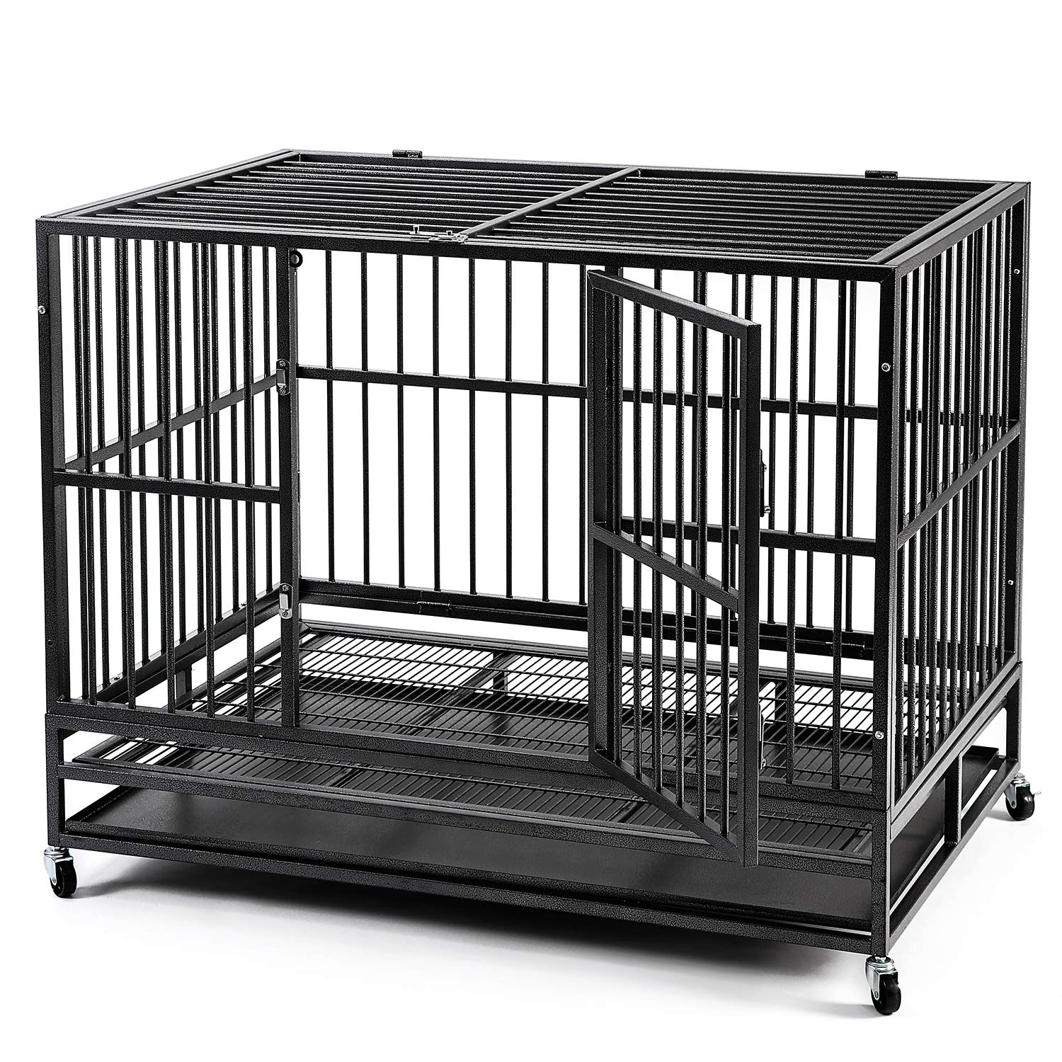 HYD-parts Steel 37inch 42inch 48inch Large Dog Cage,Heavy Duty Strong Pet Kennel Crate Playpen with Wheels for Large Dogs