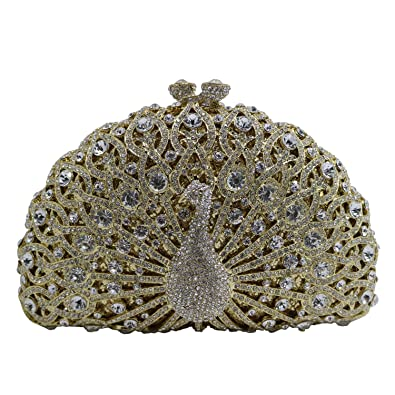 DMIX Womens Luxury Peacock Crystal Clutch and Evening Bags for Wedding  Bridal Party Prom Gold  Handbags  Amazon.com 4f7b965de3d8b