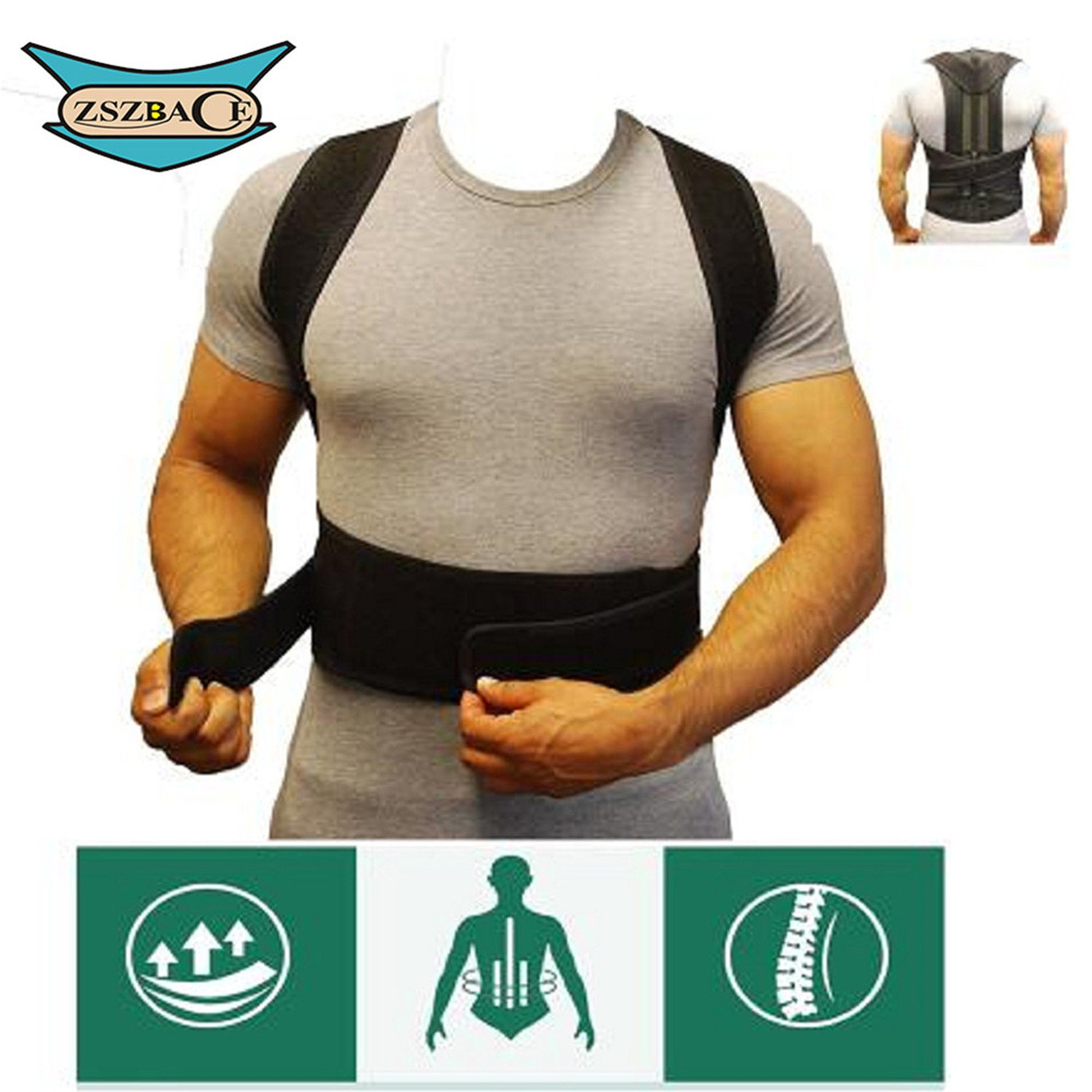 Posture Corrector Brace and Clavicle Support Straightener for Back Shoulder Forward Head Neck Aid, Improve and Fix Poor Posture for Women Men (L: waist length fits 35.4-41.3'', Black)