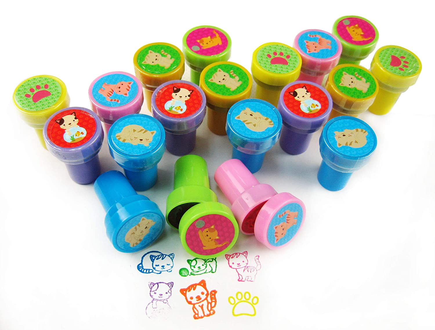 TINYMILLS 24 Pcs Cat Stampers for Kids
