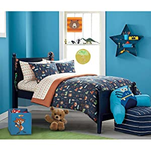 Stunning, Soft, Uniquely Masculine Mainstays Kids Woodland Safari Boy Bed in a Bag Bedding Set, Blue/Orange, Full