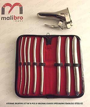 malibro® Hegar Dilator uterinas diagnóstico conjunto de 8pcs Con Negro Funda con cremallera y Cusco - Espéculo (tamaño mediano, acero inoxidable: Amazon.es: ...