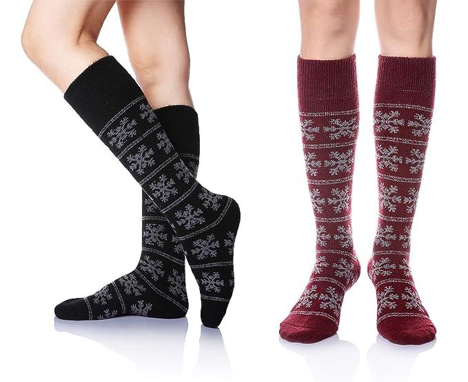8ed83f0c0e9 DoSmart Women s Winter Warm Knee High Socks Boot Socks 2-Pairs Multi Color  (2