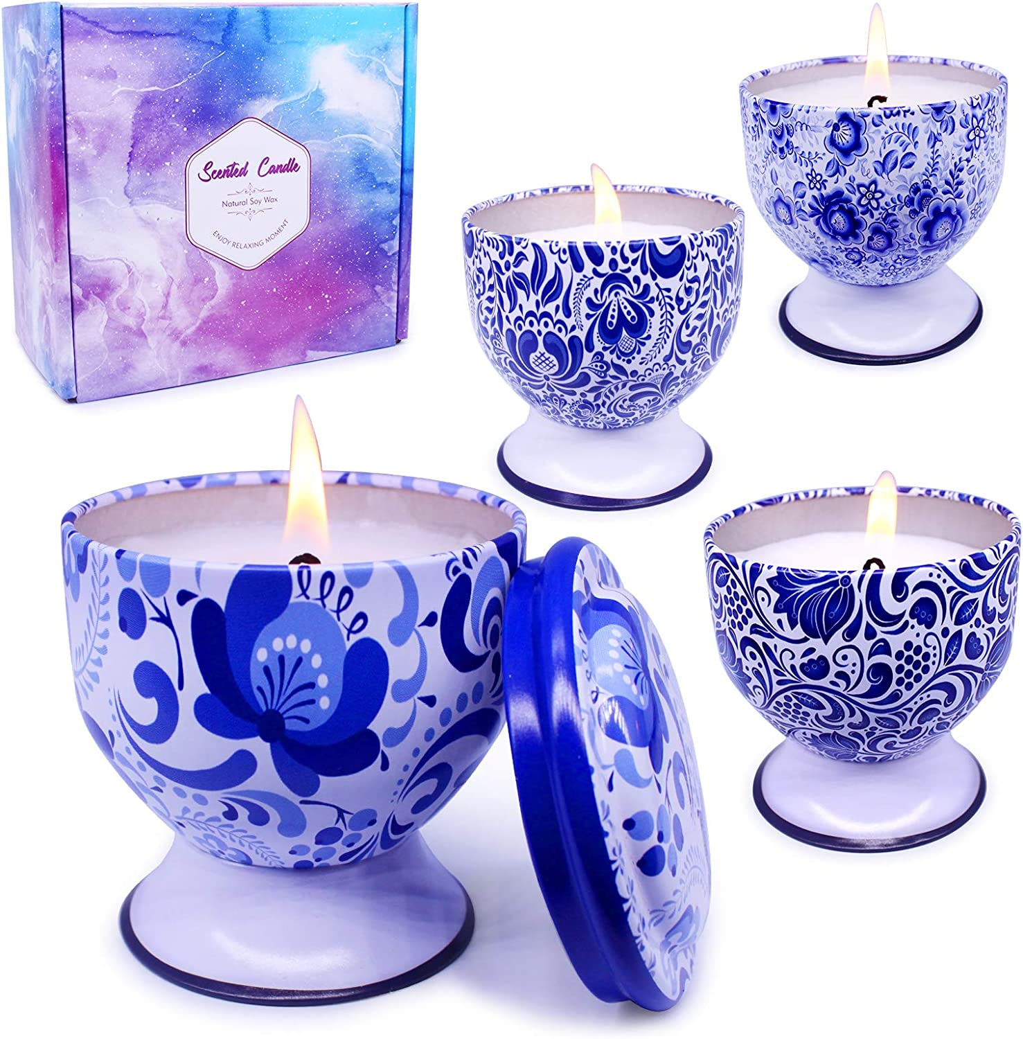 Enamorare Scented Candles Gift Set Natural Soy Wax Travel Tin Candles with Pedestal for Stress Relief and Home Decor, 4 oz with 4 Fragrance-Lavender, Lemon,Vanilla &Jasmine,Apple & Cinnamon