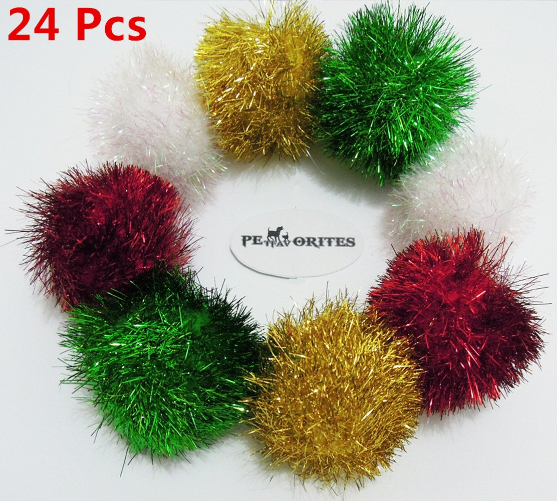 PetFavorites™ Bushy Sparkle Ball Cat Toy, Interactive Glitter Pom Pom Cat Toy Balls for Kittens, 24 Pack.