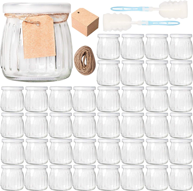 Comrzor 40 Pack 7 oz Yogurt Jars with PE Lids, Glass Pudding Jars Yogurt Jars Ideal for Jam, Honey, Baby Foods, Wedding Favors, Shower Favors(Strings, Tags & Sponge Brushes Included)