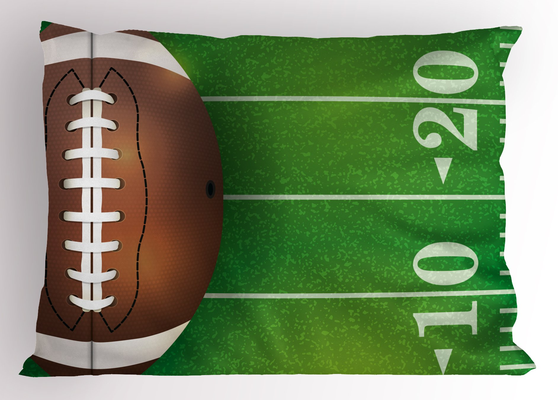 Lunarable Boy's Room Pillow Sham, American Football Field and Ball Realistic Vivid Illustration College, Decorative Standard King Size Printed Pillowcase, 36 X 20 Inches, Green Brown White