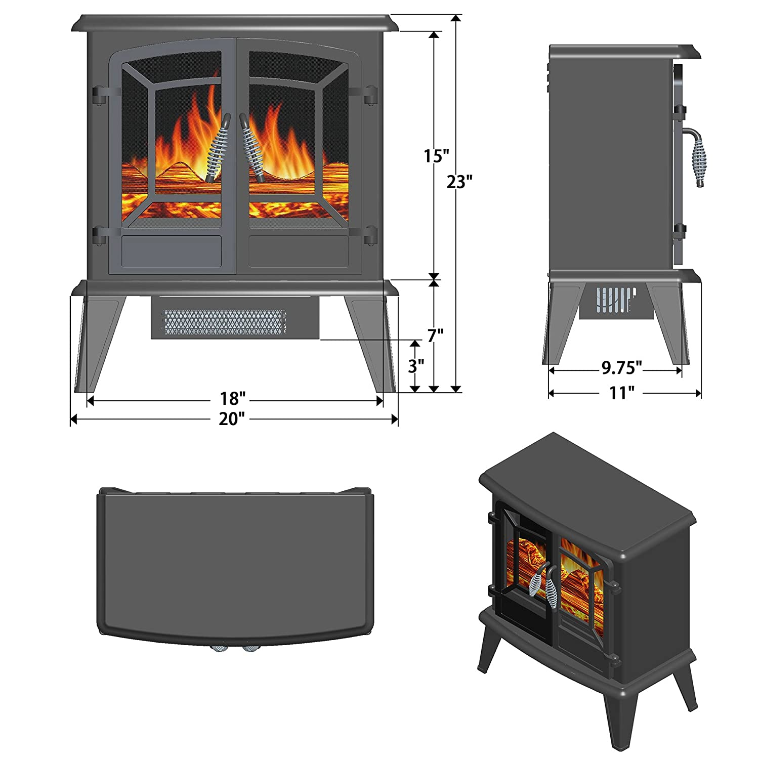 Portable Fireplace Heater Fireplace Decoration 3d Flame Heater 10 X