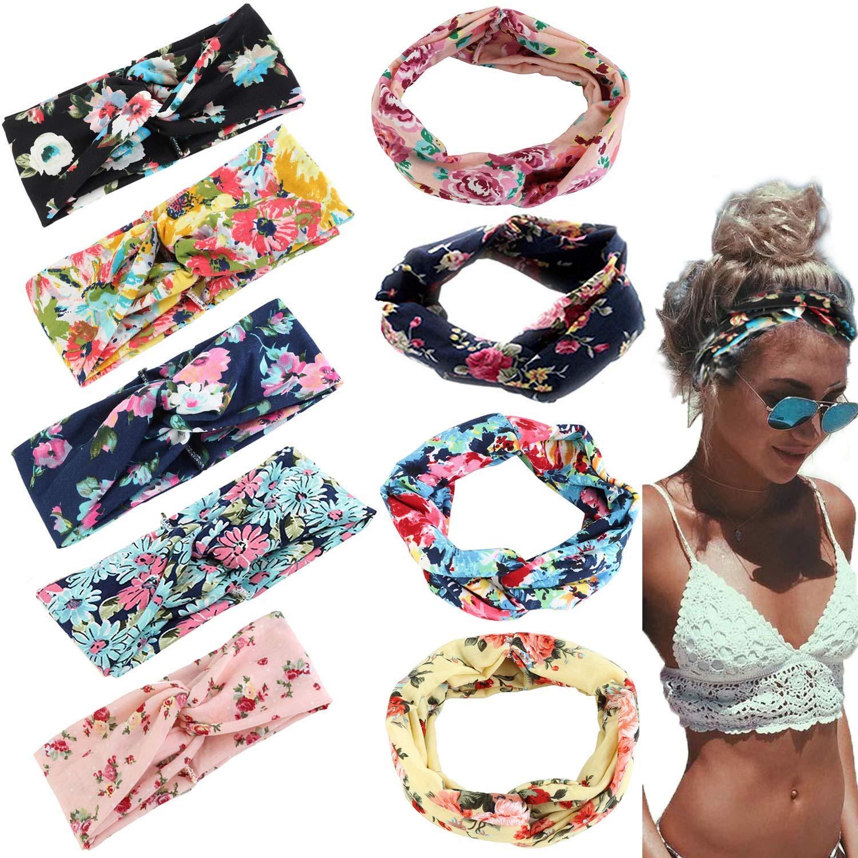 Adramata 9 Pcs Headbands for Women Girls Wide Boho Knotted Yoga Headband Head Wrap Hair Band