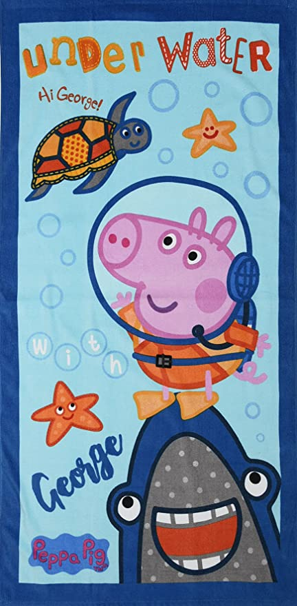 Offically Licensed Peppa Pig - Toallas de Baño para Playa (Color Azul o Rosa)