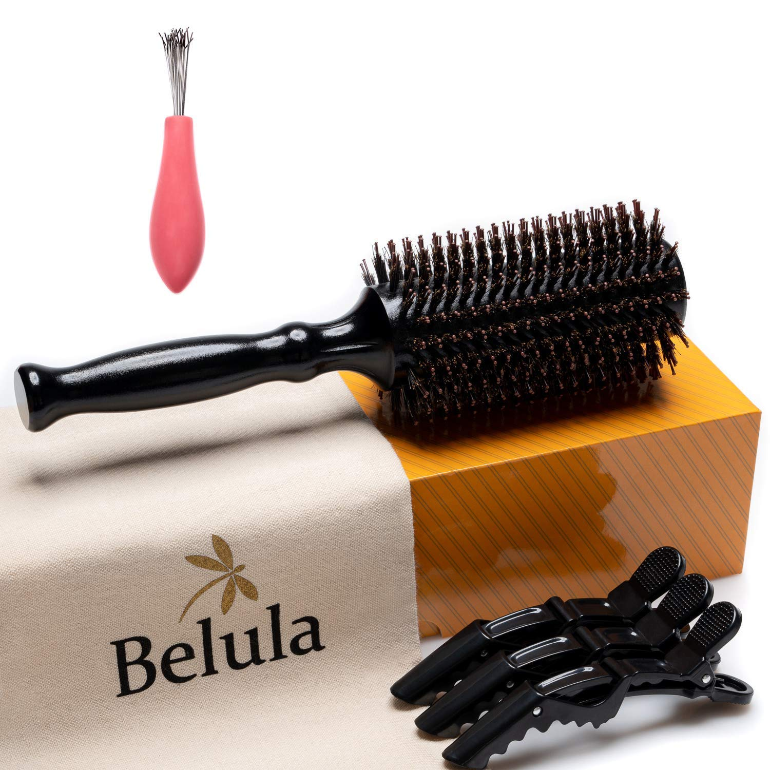 """Boar Bristle Round Brush for Blow Drying Set. Round Hair Brush With Medium 2.4"""" Wooden Barrel. Hairbrush Ideal to Add Volume and Body. Free 3 x Hair Clips & Travel Bag."""