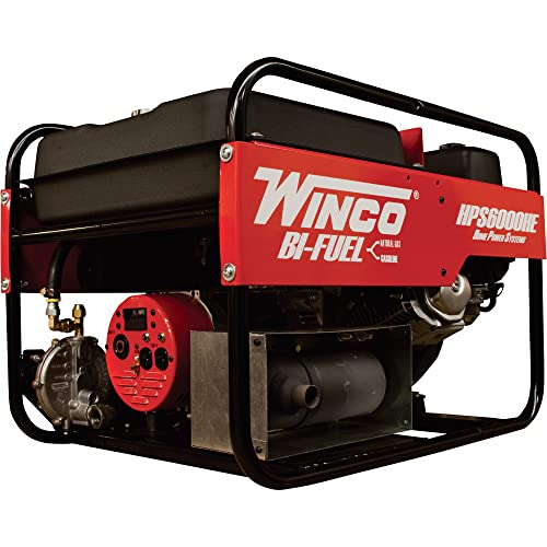 Winco Portable Dual Fuel Generator – 6000 Surge Watts, 5500 Rated Watts, Electric Start, Model Number HPS6000HE