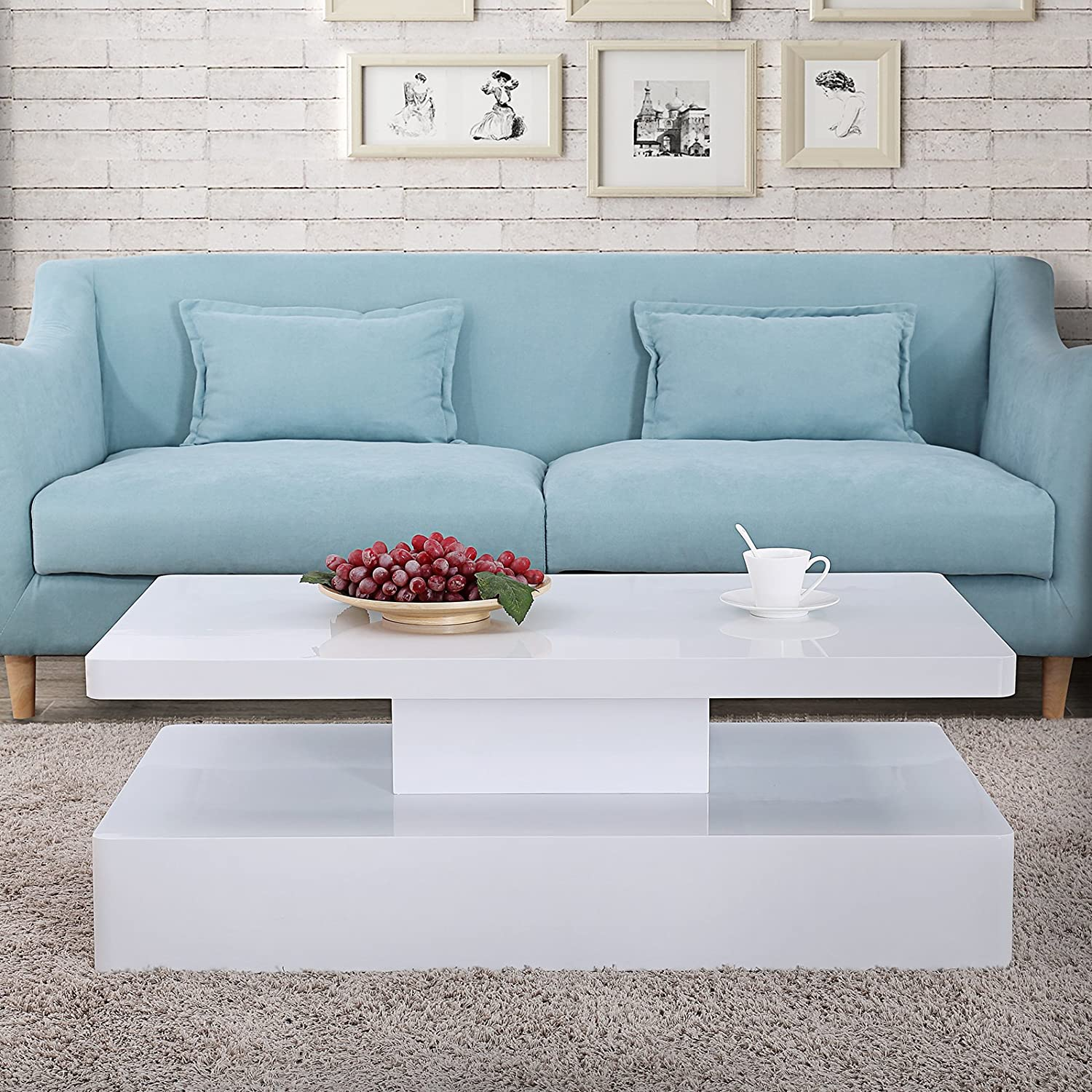 Mecor Modern Glossy White Coffee Table W/LED Lighting, Contemporary  Rectangle Design Living Room Furniture, 2 Tiers