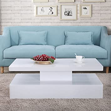 Admirable Mecor Modern Glossy White Coffee Table W Led Lighting Home Interior And Landscaping Oversignezvosmurscom