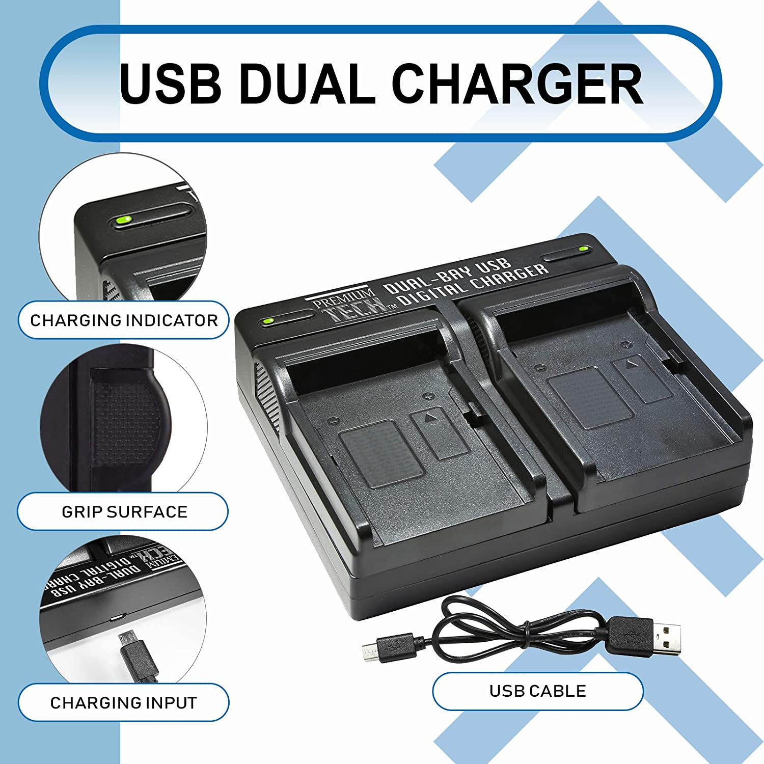 UltraPro Accessory Bundle UltraPro Battery Grip Bundle for Panasonic GH5: Includes Panasonic GH5 Replacement Grip Rapid Dual Charger 2-Pack DMW-BLF19 Long-Life Battery
