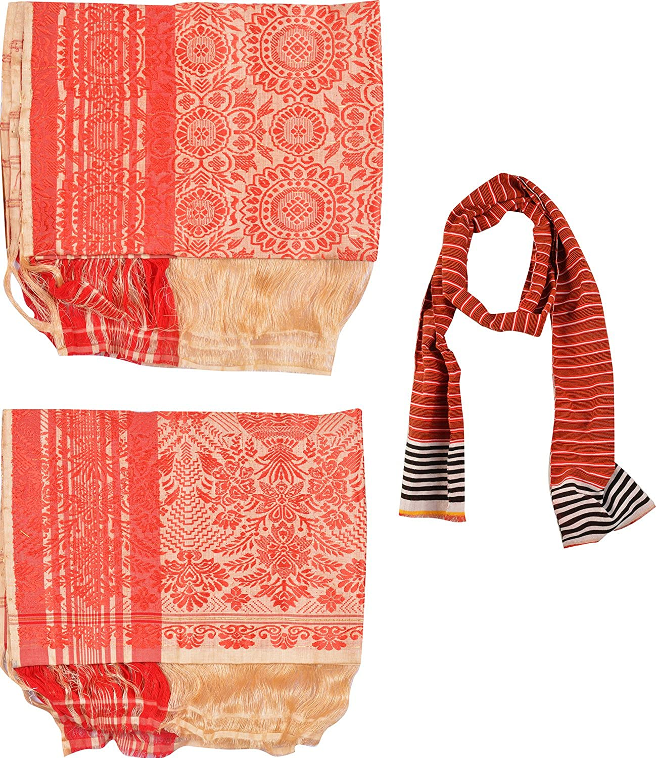 Uparam Muga Gamusa & Pohtuv, Adult Scarf Combo of 3 (Multi-Coloured)