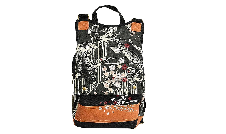 リップル 日本の伝統的な柄 刺繍 鯉 バックパック デイバッグ キャンバス 合成皮革 B42-35   B06ZXXJWDW